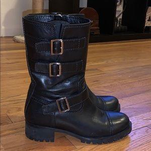 Prada Women's Black Short Triple-buckle Moto Boot